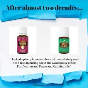 I looked up her phone number and immediately sent her a text inquiring about the availability of the Purification and Peace and Calming oils.
